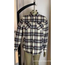Jaquetas camisa Sherpa de manga comprida masculina acolchoada xadrez