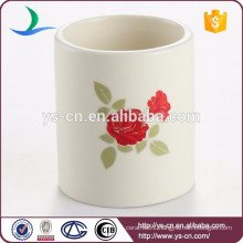 Flower design decal ceramic mini candle holder wholesale