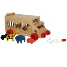Bus d'animaux en bois pour enfant