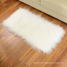 2' X 4' Real Genuine curly raw bleached white sheepskin blanket Tibetan Mongolian lamb fur rug plate