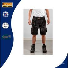 Múltiples bolsillos cortos cortos de carga barato / hombres pantalones cortos / pantalones vaqueros / negro cortos