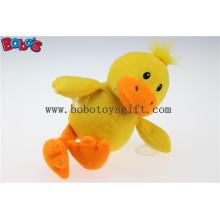 Jouets animaux de canard jaune farcis à prix bon marché de 7 po avec des ventouses en plastique Bos1138
