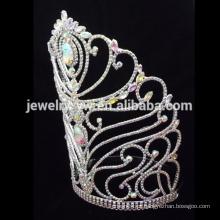 Moda flor de cristal grande coroas de desfile, coroas personalizadas tiara de casamento grande, coroas de desfile por atacado e tiaras