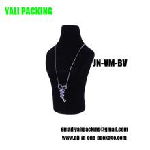 Black Flock Couvert Bijoux En Plastique Collier Affichage En Gros (JN-VM-BV)