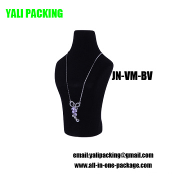 Black Flock Covered Plastic Jewelry Necklace Display Wholesale (JN-VM-BV)