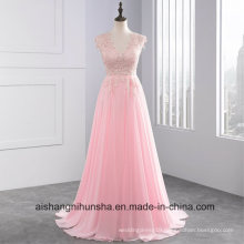 Rose Wedding Dresses V-Neck Floor Length Chiffon with Lace Ruffle