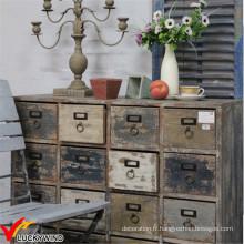 Shabby Chic Farmstead De nombreux tiroirs Cabinet en bois sur roues