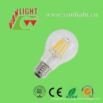 A60 6 vatios bombilla de filamento de LED con el CE, RoHS