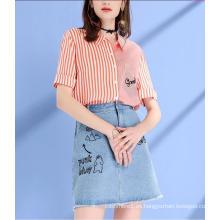 Summer Stripe Round Neck manga corta Fresh Ladies Camisas