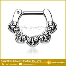 Silber Farbe 316L Chirurgenstahl Tribal Septum Ring Schmuck