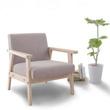 Mid-Century apoyabrazos de madera cojines sofá de lino conjunto