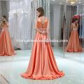 2017 satén paño largo o-cuello cruz espalda formal vestidos de fiesta de boda vestido de noche