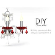 2013 DIY red crystal chandelier made in china