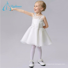 Lace Organza Bow Knee Length Little Girl Wedding Dresses