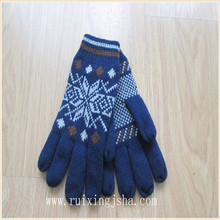 men acrylic jacquard knitted winter gloves