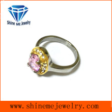 Pink Crystal Casting Cut CZ Wedding Ring