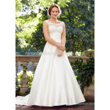 NA1026 Fabulous A-line Scoop Sweep Train Lace Bodice Satin Skirt Backless Cheap Wedding Dress