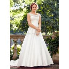 NA1026 сказочные-линии совок развертки поезд кружева лиф атласная юбка спинки дешевые свадебное платье