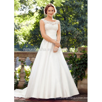 NA1026 Fabuloso A-line Scoop Sweep Train Laço Bodice Saia de cetim Backless Cheap Wedding Dress