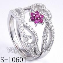Стерлинговое серебро 925 пробы с розовым цирконием (S-10601)