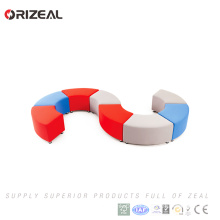 Orizeal modern round movable sofa set design S shaped fabric modular sofa(OZ-OSF030)