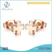 Modèles de boucles d'oreille en or rose personnalisés en usine pour femmes