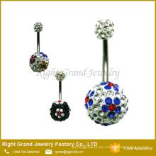 Shamballa Ball 316L Anillos del vientre de acero quirúrgico Navel Bar Body Jewellery
