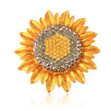 Gold Plated Strass klassischen Stil Sonnenblume Brosche für die Dame