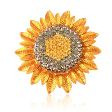 Broche de girasol chapado en oro de estilo clásico Rhinestone para dama