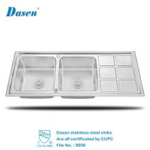 Encimeras de alta calidad utiliza lavabos de fregaderos de cocina de lavado de mano de acero inoxidable con tablero de drenaje para la venta