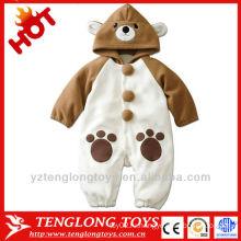 2014 детское животное формы ромпер милый бурый медведь теплый зима детский комбинезон