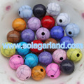 Wholesale Acrylic Plastic Black Crackle Round Beads Circular Crack Beads Charms