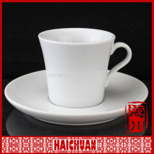 HCC plain white coffee cup and saucer, disposable tea cup handle and saucer