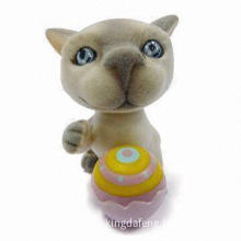 Promotional Toy, Lovely Cat with Basketball, PVC Flocking
