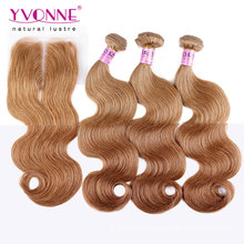Pacotes de cabelo brasileiro de cor # 8 com encerramento de rendas
