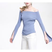 PK18CH004 malha caxemira lã tricotada senhora camisola barco pescoço off ombros pulôver
