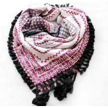 Fashion printed square tassel shawl for lady