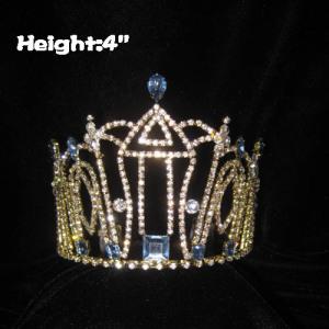 Coronas de princesa de 4 pulgadas de altura con diamantes de imitación transparentes