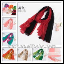 Factory Price, 2015 double color silk feel polyester shawl and hijab scarf