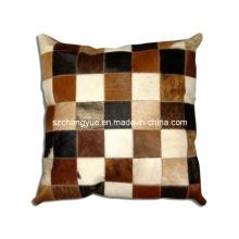 Dois lados couro natural remendo travesseiro capa sem recheios