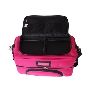 Saco cosmético do armazenamento de nylon do caso da composição com o caso cor-de-rosa da embalagem da composição da beleza das bandejas