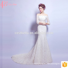 2017 OEM Suzhou Factory Supplier White Satin Lace Crystal Beaded Off Shoulder Wedding Dress Trumpet Pattern