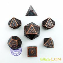 Bescon New Style Antique Copper Solid Metal Polyédéric Dice Set de 7 cuivre métallisé RPG Role Playing Game Dice 7pcs Set D4-D20