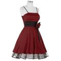 Starzz 2016 nuevo diseño Sexy Spaghetti Straps Polka Dots Satén corto negro rojo barato vestido de cóctel ST000087-1