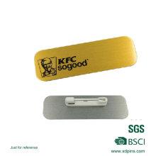 Placa de identificación de metal de aluminio con pasadores de seguridad