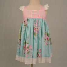 Girls Cotton Vintage Print Floral Dress Boutique Dress