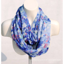 Fashion floral print viscose infinity ladies scarf