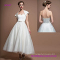 Strapless Sweetheart Tea Length Simple A-Line Wedding Dress