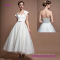 Strapless Sweetheart Tea Length Simple A-Line Wedding Dress