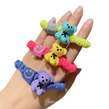 Korean Fluorescent Bear Hair Bow Tie Elastic Band Scrunchies Ring for Girl Ponytail Head Rope Rubber Fashion Accessories